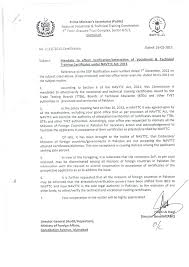 Navttc Letter Of Notification Of Attestation The Miim Islamabad
