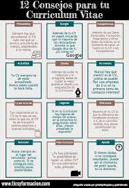 images about curriculum vitae infographic 12 consejos para tu curriculum vitae infografia