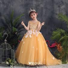 <b>Lovely</b> Gold <b>Flower Girl</b> Dresses <b>2019</b> A-Line / Princess Scoop Neck ...