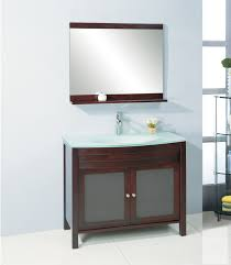 bathroom place vanity contemporary: bathroom brown wooden vanity with frozen glass door also white counter top with sink