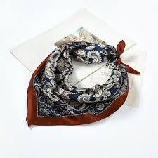 Boho Style Small Scarf 100% Silk <b>Square Bandana</b> Paisley Print ...