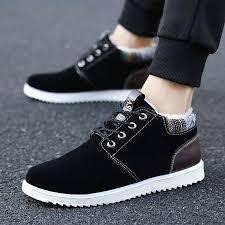 <b>Winter Men's</b> Casual Sneakers Warm <b>Cotton Shoes</b> Flats Padded ...