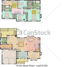 Vector Illustration of House plans   Vector drawing of bedroom    House plans   csp