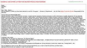Cover Letter For Production Helper Job