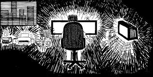 amusing ourselves to death   stuart mcmillen comics blogelectronic distractions cartoon  drawing of man in front of glowing computer screen  dark room