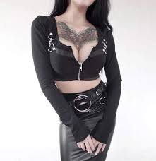 <b>Women's Long Sleeved Zipper</b> Fly Short Jackets With Sashes - Punk ...