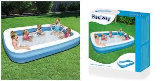 Надувной <b>бассейн Bestway 54150</b> Blue Rectangular Family Pool ...
