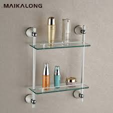 bathroom tempered glass shelf: bathroom accessories golden finish with tempered glassdouble glass shelf bathroom shelfchina