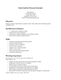 resume examples  cashier resume example resume samples  resume    head cashier resume example for objective   qualification summary and skills