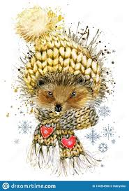 Hedgehog in a knitted hat with snowflake. watercolor winter wild ...
