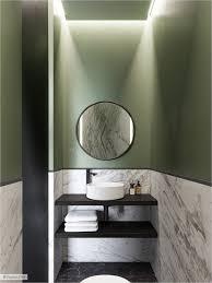 Круглое <b>зеркало</b> и раковина, ванна в зеленых тонах - minimalist ...