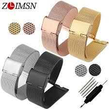 <b>ZLIMSN</b> 12 14 16 18 20 22 24mm <b>Stainless Steel</b> Watch Band Strap ...