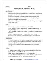 informative essay writing checklist click to print