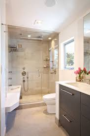bathroom designs luxurious: contemporary small luxury bathroom design with compact size shower area and dark wood cabinets bathroom vanity
