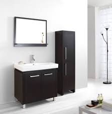 f alluring black painted cherry wood vanity cabinet with white porcelain sink under framed wall mirror as well as tall black lacquered storage cabinet by black and white bathroom furniture