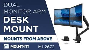 Dual Monitor Arm <b>Desk</b> Mount, Height Adjustable with <b>Mechanical</b> ...