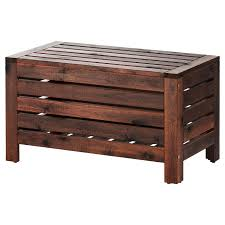 ÄPPLARÖ <b>Storage bench</b>, outdoor, brown stained brown, Width: 31 ...