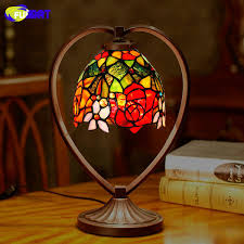 2019 <b>FUMAT Tiffany Table Lamp</b> Rose Dragonfly Stained Glass ...