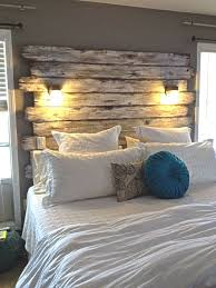 headboard out of old fencing with lights total 20 plus tax distressed with barn wood furniture diy