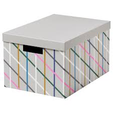 <b>TJENA ТЬЕНА</b> Коробка с крышкой, серый разноцветный/бумага ...