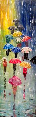 metre giant umbrella: original painting umbrellas acrylic rain by artonlinegallery