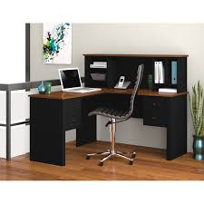simple black polished multiplex computer desk with brown eased edge profile top and hutch having 4 astounding small black computer