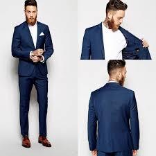 New <b>Groom Tuxedos Groomsmen Dark</b> Blue Vent Slim Suits Fit Best ...