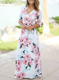 <b>Women's Floral Maxi Dress</b> - Three Quarter Length Sleeves ...