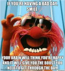 If you're having a bad day, smile. Your brain will think you're ... via Relatably.com