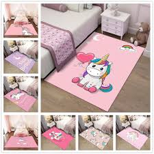 Pink <b>Cartoon Unicorn Pattern 3D</b> Carpets Child Bedroom Play Rug ...