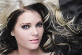 dying black square blonde hair with black under layers