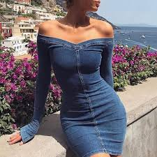 Sexy Off Shoulder Jean <b>Dress</b> 2020 Slim Denim <b>Dresses</b> Cowboy ...