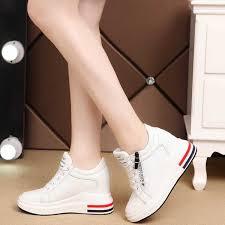 Korea Women <b>Fashion</b> Hidden Wedge Lace Up Casual Sneakers ...