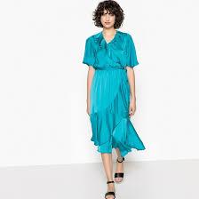 Asymmetrical ruffled wrap dress <b>La Redoute</b> Collections | <b>La Redoute</b>