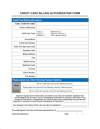 credit card billing authorization form template sample form credit card billing authorization form 1 fill in the blanks 2 customize template 3 save as print share sign done