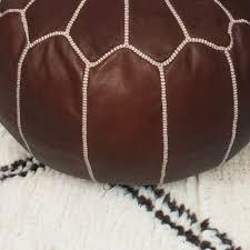 Moroccan <b>handmade</b> leather <b>pouf</b> ottoman round <b>footstool</b> color ...