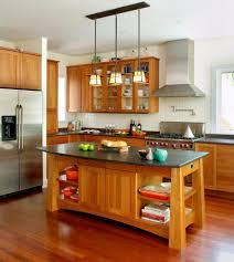 rustic kitchen island: kitchenrustic kitchen with central island and single bar chair in the wooden kitchen furniture