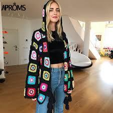 <b>Aproms Multi Color</b> Handmade Crochet Cardigan Female Autumn ...