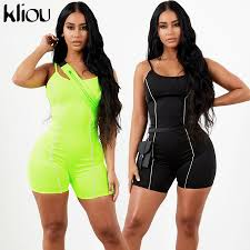 Kliou <b>2019 women sexy strapless</b> playsuit neon color skinny ...