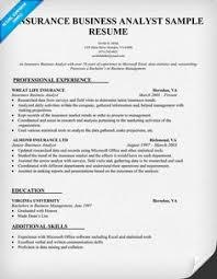 Insurance Business Analyst Resume Sample