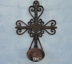 iron wall cross love:  piece vintage faith cast iron wall cross candle sconces candlestick holder home wall decor garden