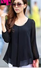 <b>Korean Fashion Womens</b> Loose <b>Chiffon</b> Tops Long Sleeve Shirt ...