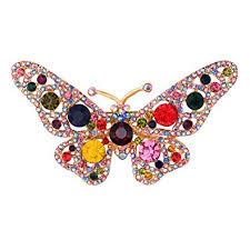 Lady Elegant Butterfly Brooch Pin <b>Colorful Rhinestones</b> Accessory ...