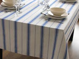 rectangular dining table cover cloth knitted vintage: linen tablecloth striped blue stripes country french style