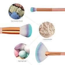 10 pcs professional mermaid makeup brushes foundation eyebrow eyeliner blush powder cosmetic concealer fishtail s