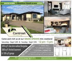 blog contrast homes inc meadow hawk show home grand opening