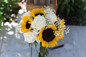 <b>Sunflower</b> and <b>White Rose</b> Bridal Bouquet