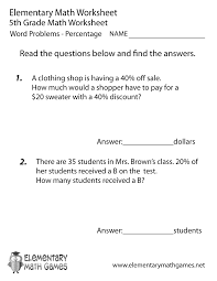 Word Problems 8th Grade Worksheets - KhayavFifth Grade Percentage Word Problems Worksheet