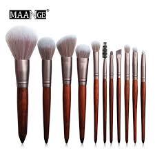 MAANGE <b>11Pcs</b> Chinchilla Hair Super <b>Soft</b> Solid <b>Wood Handle</b> ...