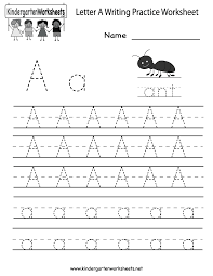 Free Kindergarten Writing Worksheets - Learning to write the alphabet.Letter A Writing Practice Worksheet